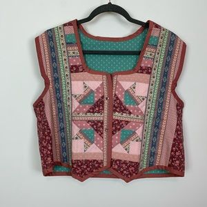 Handmade boho western country quilted vest medium
